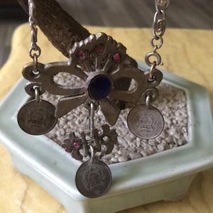 Antique coin / glass necklace